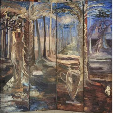 Biombo gran paisaje de noche Óleo sobre madera con palmeras