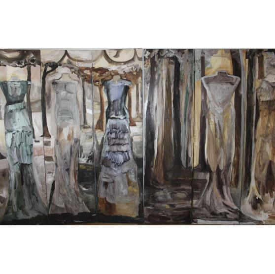 Bosque 3 biombo de lujo pintado a mano con 4 mujeres al oleo
