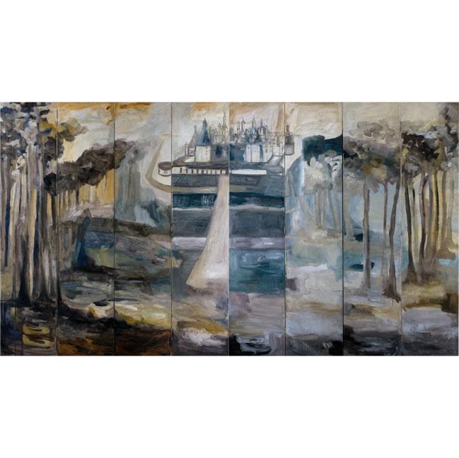 Biombo de lujo pintado a mano con oleo castillo de Chambord y bosque