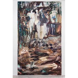 cuadro pintado con oleo de bailarinas bosques y arlequines
